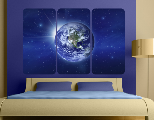 Wallprint Erde im Weltall Triptychon I S - 54cm x 36cm