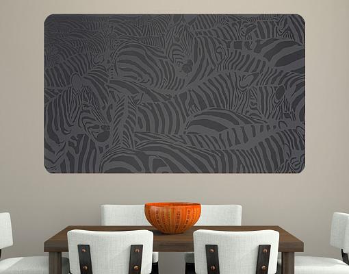 Wallprint Zebras schwarz S - 70cm x 36cm
