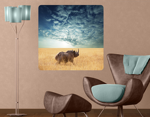 Wallprint Nashorn in der Savanne S - 36cm x 36cm