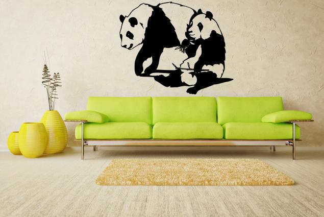 wandtattoo panda p rchen online bei print it all kaufen. Black Bedroom Furniture Sets. Home Design Ideas