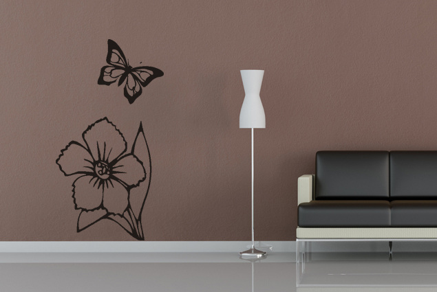 Blume mit Schmetterling Wandtattoo