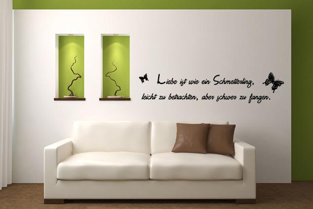"""Wandtattoo """"Liebe ist wie ein Schmetterling, leicht zu betrachten, aber schwer zu fangen."""""""