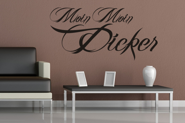 wandtattoo moin moin dicker online bei print it all kaufen. Black Bedroom Furniture Sets. Home Design Ideas