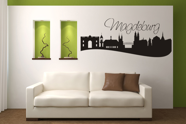wandtattoo skyline magdeburg online bei print it all kaufen. Black Bedroom Furniture Sets. Home Design Ideas