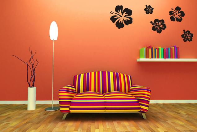 wandtattoo hibiskus online bei print it all kaufen. Black Bedroom Furniture Sets. Home Design Ideas