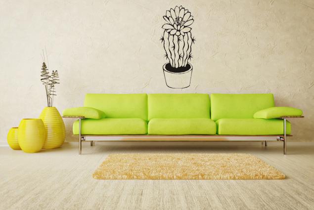 wandtattoo kaktus mit bl te online bei print it all kaufen. Black Bedroom Furniture Sets. Home Design Ideas