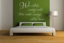 """Wandtattoo """"Wer schläft sündigt nicht. Wer vorher sündigt, schläft besser"""""""