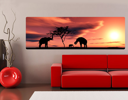 Wallprint African Elefant Family S - 54cm x 18cm