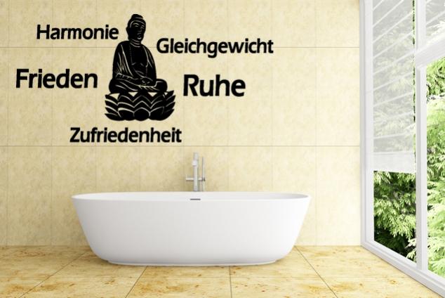 """Wandtattoo """"Harmonie Gleichgewicht Frieden Ruhe Zufriedenheit"""""""