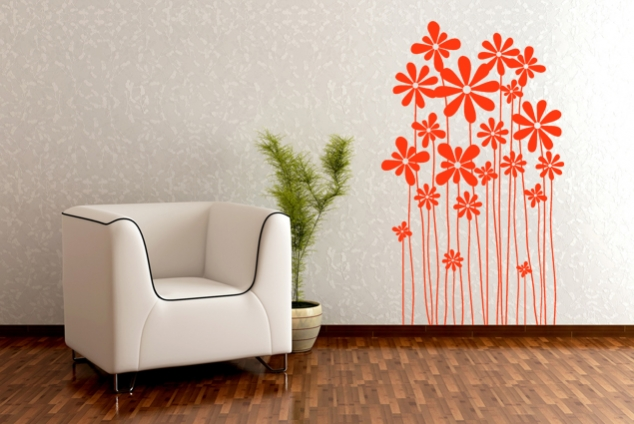 Wandtattoo - Blumenwiese orange Blumen