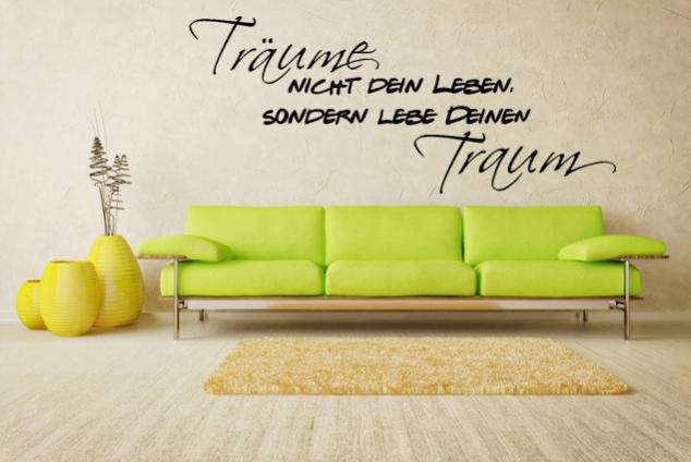 wandtattoo tr ume nicht dein leben sondern lebe deinen traum online bei print it all kaufen. Black Bedroom Furniture Sets. Home Design Ideas