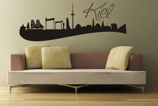 wandtattoo skyline kiel online bei print it all kaufen. Black Bedroom Furniture Sets. Home Design Ideas