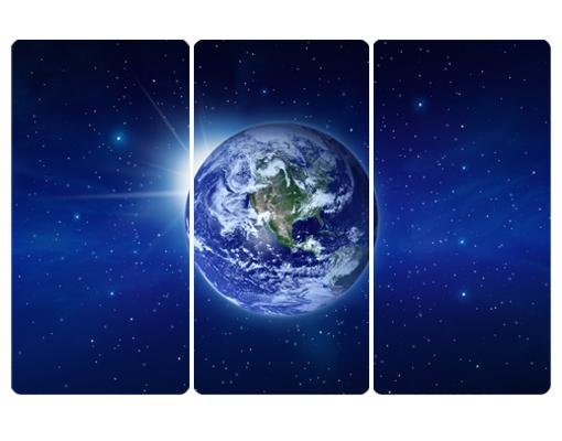 Wallprint Erde im Weltall Triptychon I S  54cm x 36cm online bei